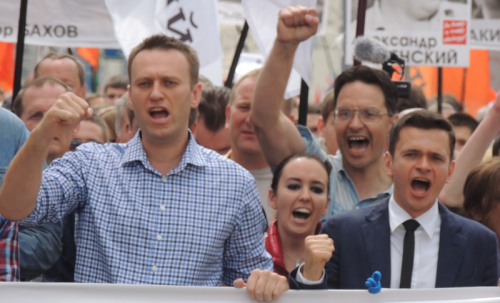 Alexey Navalny, Anna Veduta and Ilya Yashin at Moscow rally 2013-06-12